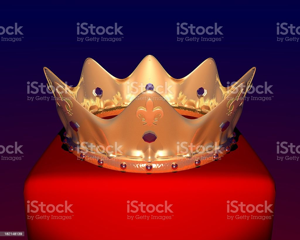 The Crown on a red block isolated on black royalty-free stock photo