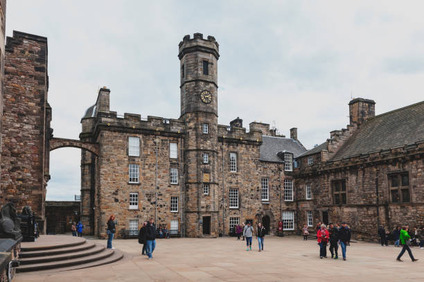 The Crown Square comprised of Scottish National War Memorial, Royal Palace, Great Hall, and Queen Anne Building inside Edinburgh Castle, Scotland, UK stock photo