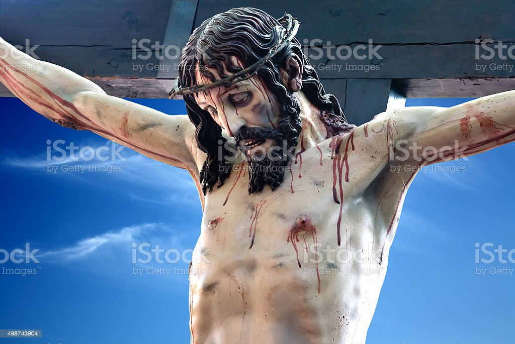 The crucified Christ stock photo