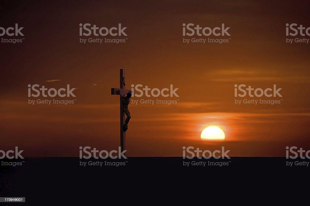 The Crucifix Illuminated by Sunset royalty-free stock photo