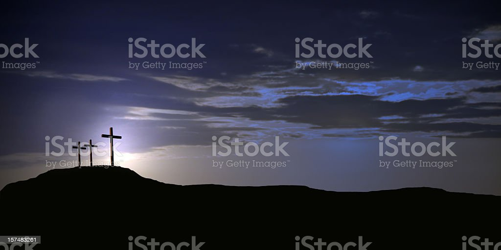 The Crucifix with two crosses at sunset royalty-free stock photo