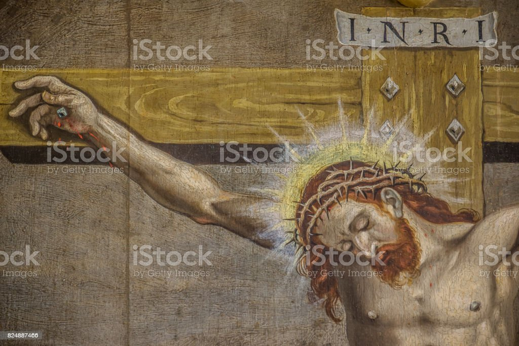 The crucifixion, an altarpiece  from 1613 stock photo
