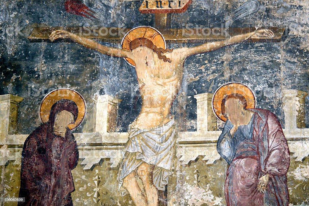 The Crucifixion, Kolossi Castle, Cyprus stock photo