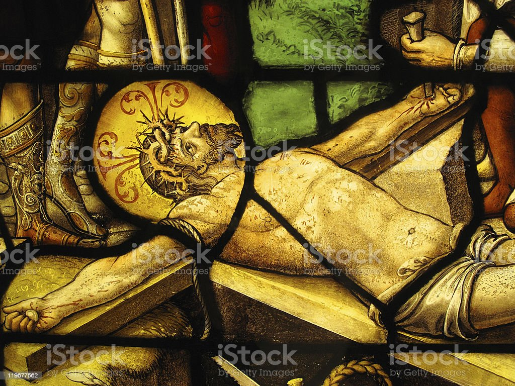 The Crucifixion Medieval Stained Glass Window stock photo