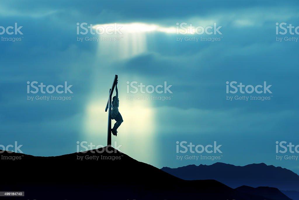 The crucifixion of Jesus Christ stock photo