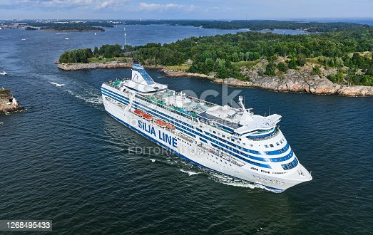 Helsinki, Finland - August 15, 2020: The cruise ferry MS Silja Serenade is departing from Helsinki. Aerial view. MS Silja Serenade is a cruiseferry owned by the Estonian shipping company Tallink Grupp