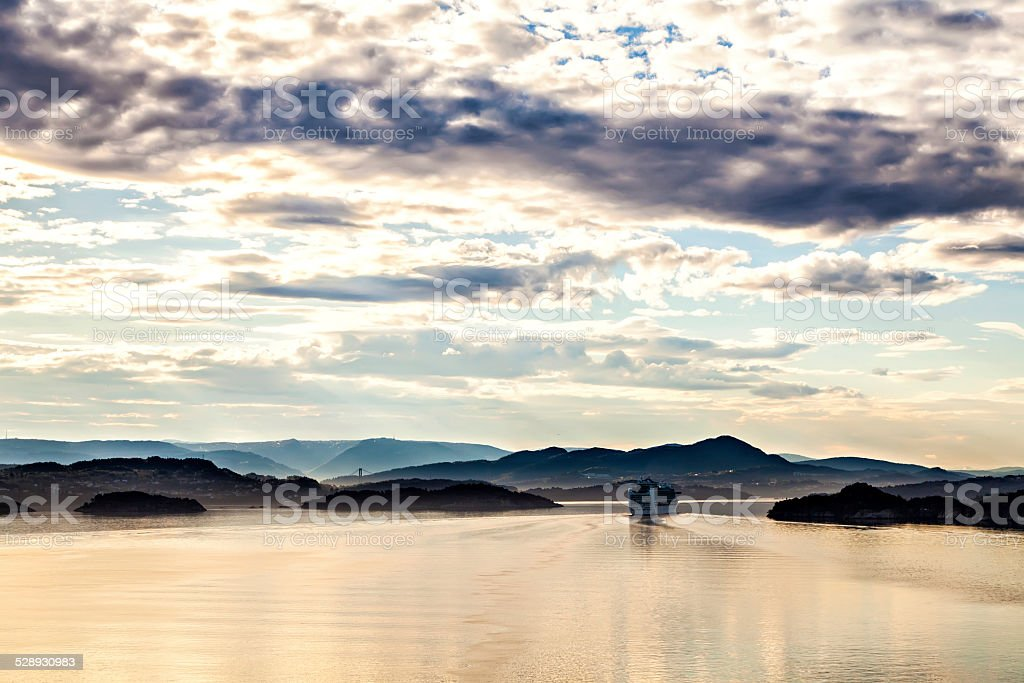 The cruise liner turning over the fjord, Norway stock photo
