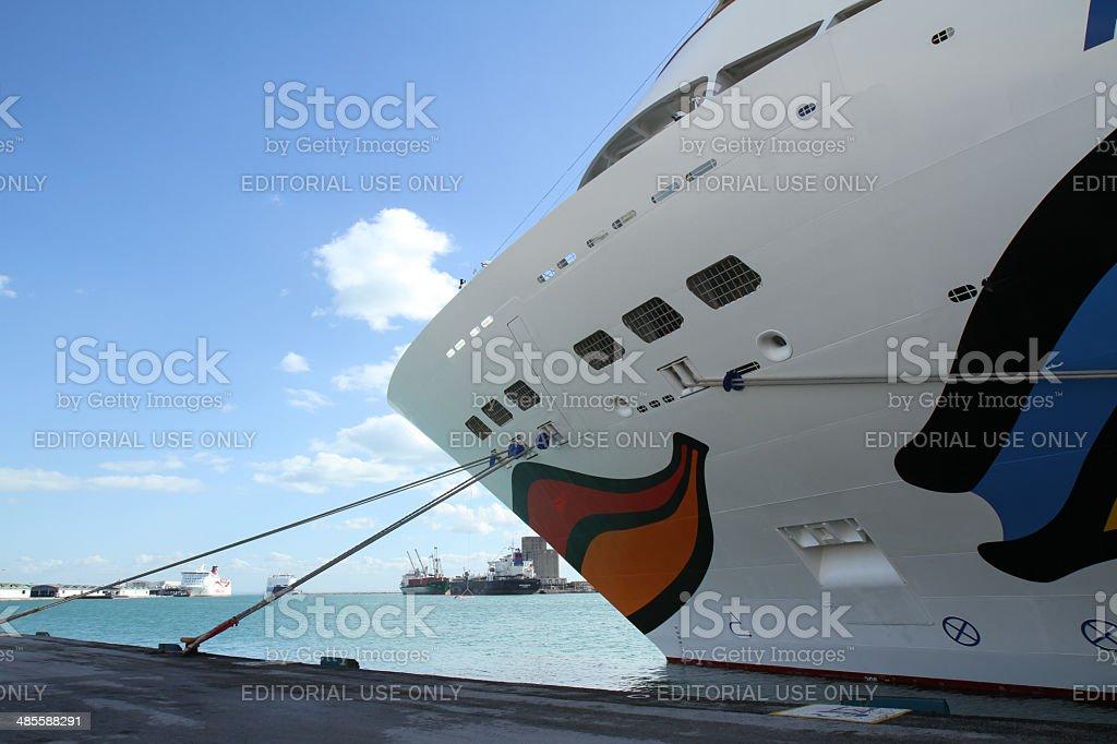 The cruise ship AIDA SOL in Tunesia stock photo