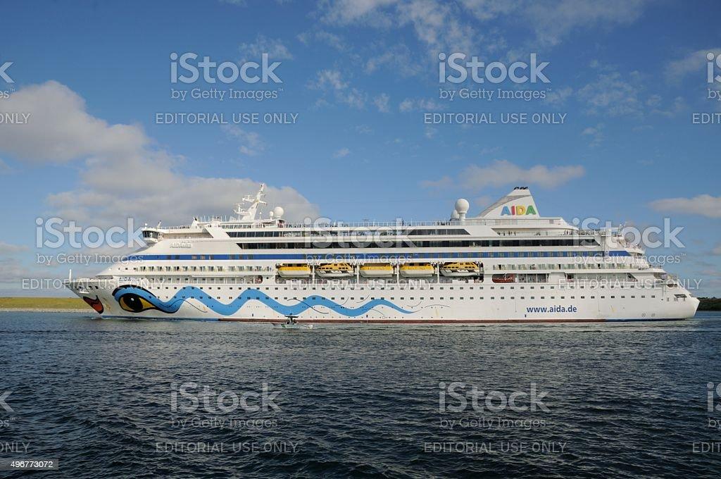 The Cruise Ship AIDAVita underway in Port Canaveral stock photo