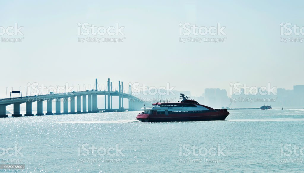 The cruise ship is on the sea stock photo