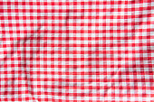 The crumpled checkered tablecloth