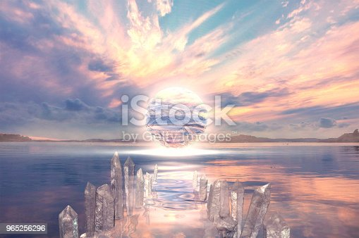 A Fantasy illustration with a lake, a glowing sphere and a crystal path.