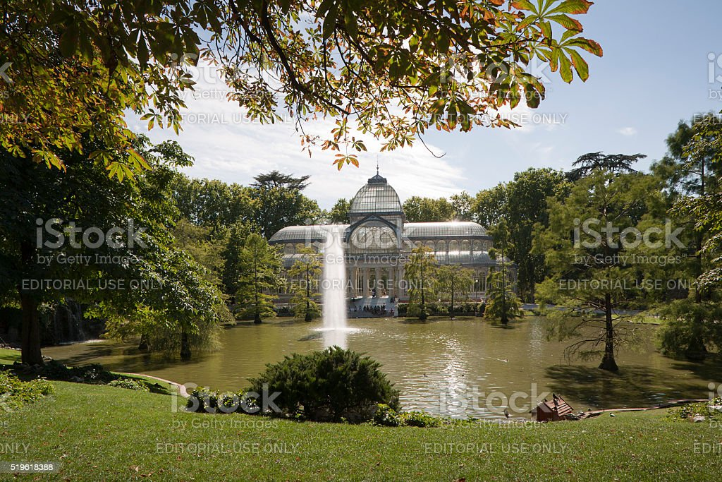 The Crystal Palace in Buen Retiro Park stock photo