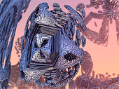The cube of strangers, abstract 3d graphic of a three dimensional Mandelbrot fractal, calculated with Mandelbulb 3D program, JPEG Grafik