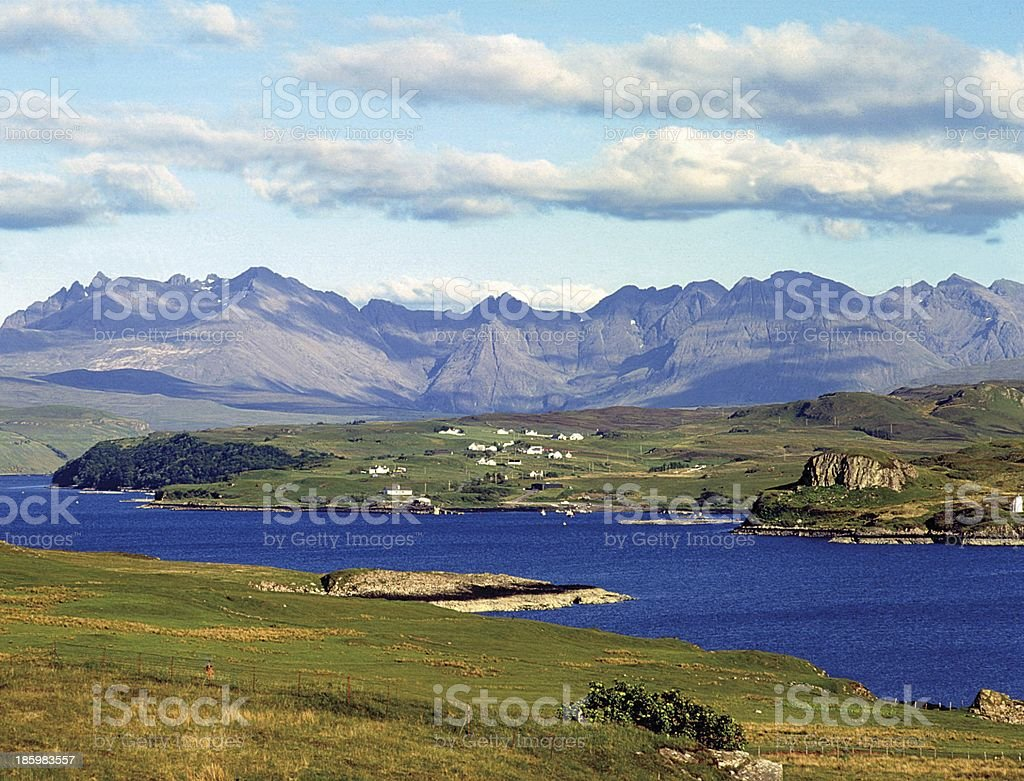 The Cuillin and Loch Harport, Isle of Skye stock photo