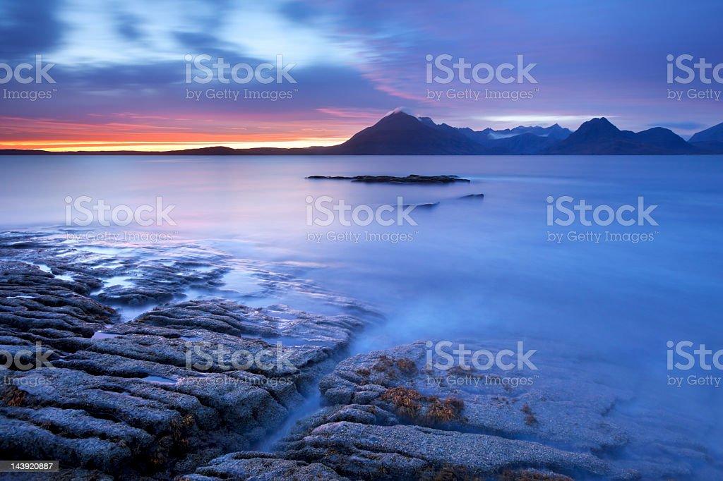 The Cuillins at dusk near Elgol, Isle of Skye, Scotland stock photo