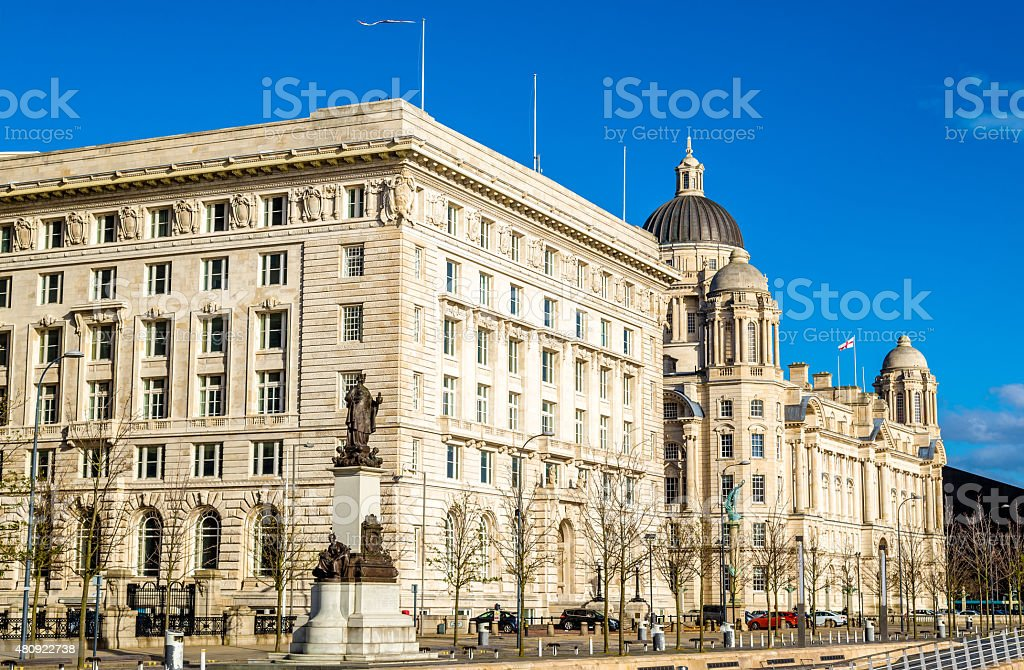 The Cunard and the Port of Liverpool Buildings - England stock photo