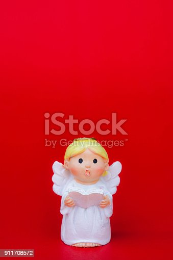 istock the cupid doll for the love on red background and copy space in the concept valentine's day background 911708572