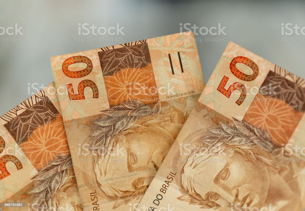 The currency of Fifty reais, brazilian money - Royalty-free Bank Account Stock Photo