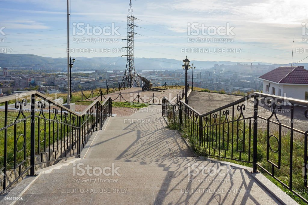 The current gun stands on a hill overlooking the city of Krasnoyarsk. stock photo