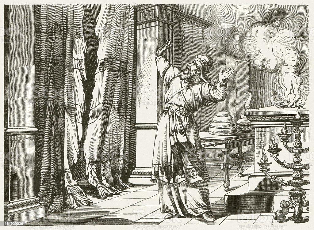 The curtain is torn (Matthew 27, 51) stock photo