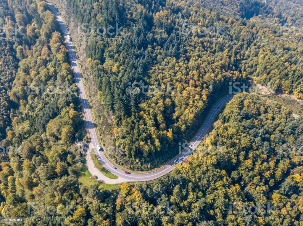 The curved Black Forest Road stock photo