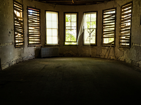 An image captured inside the Traverse City State Hospital demonstrates what years of neglect will do to a building.