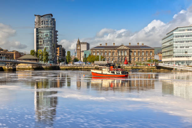 The Custom House and Lagan River in Belfast, Northern Ireland stock photo