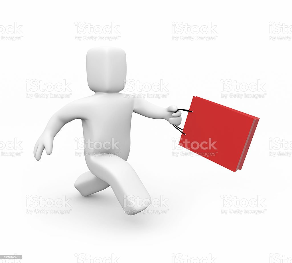 The customer with bug runs on shops royalty-free stock photo