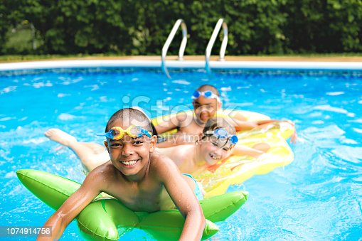 A children group in outside swimming pool