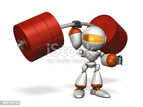istock The cute robot can easily lift a heavy weight easily. 859135730
