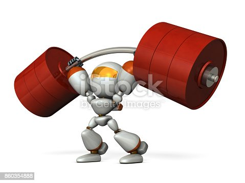 istock The cute robot can easily lift a heavy weight easily. 860354888