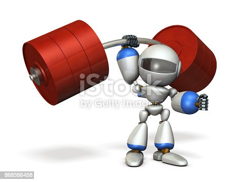 istock The cute robot can easily lift a heavy weight easily. 868366458