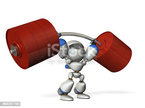 istock The cute robot can easily lift a heavy weight easily. 869287760