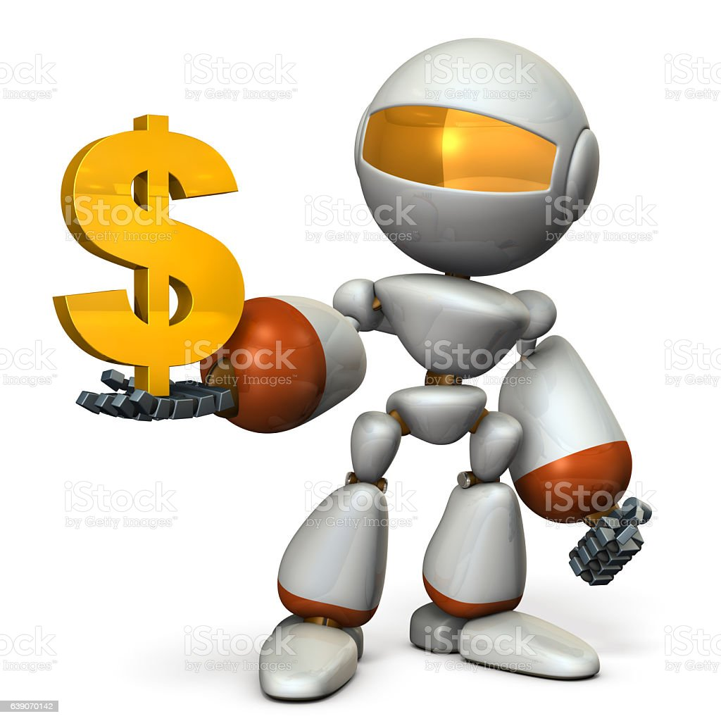 The cute robot wants a profit. stock photo