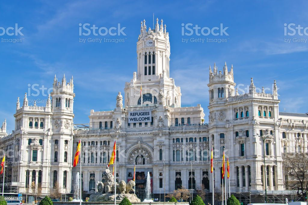 The Cybele Palace (Palacio de Cibeles) on Cybele square (Plaza de Cibeles) in Madrid, Spain stock photo
