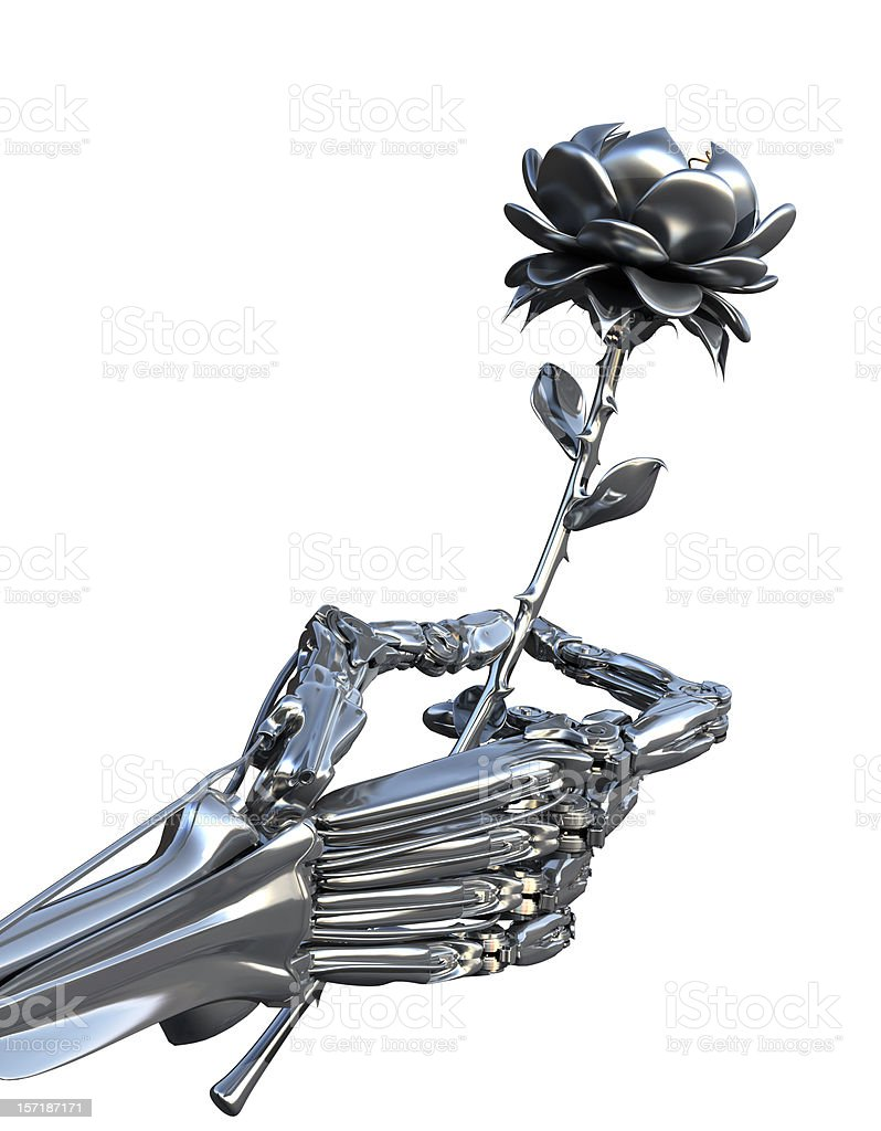 The cyborg gives a flower. stock photo