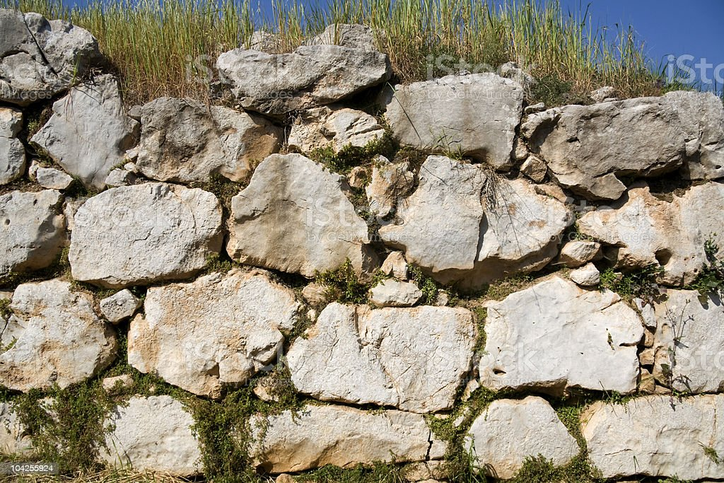 The cyclopean walls of Tiryns - Peloponnese stock photo
