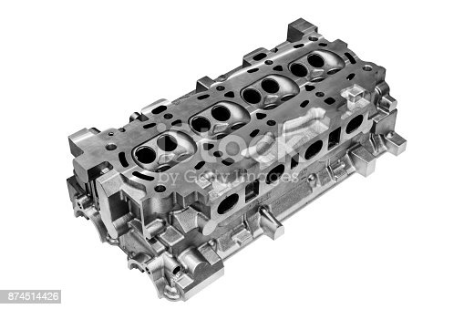 istock The cylinder head of the internal combustion engine. Isolated on white background 874514426