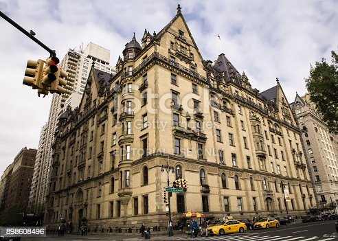 New York City, New York, USA - November 12, 2017: View of landmark The Dakota luxury apartment building and former home of John Lennon, seen from Central Park West.