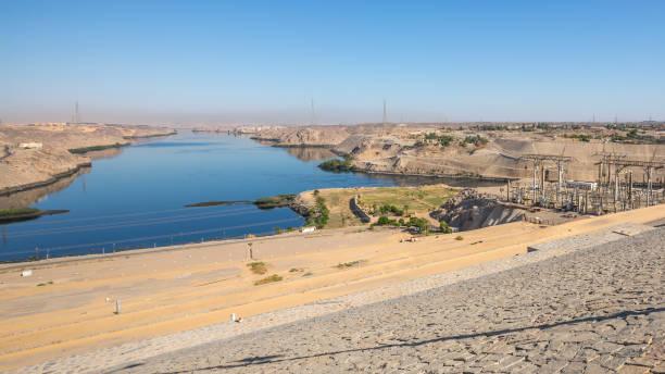The dam in Aswan, Egypt stock photo
