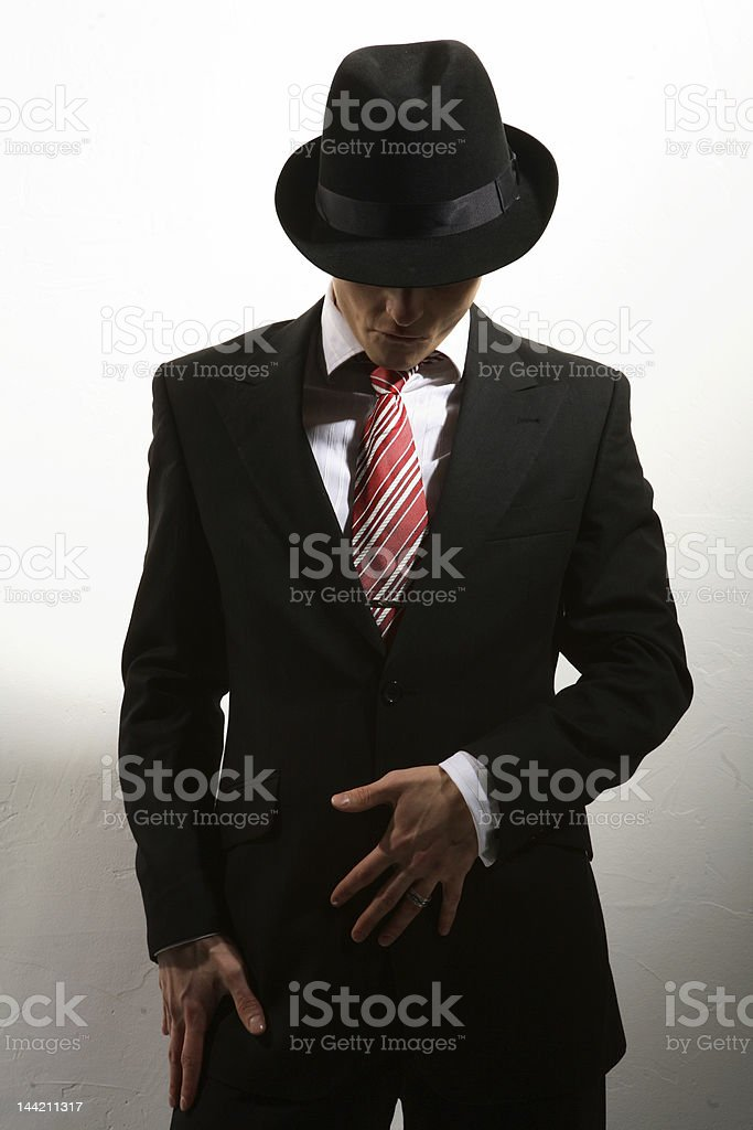 the dancer in suite and hat stock photo