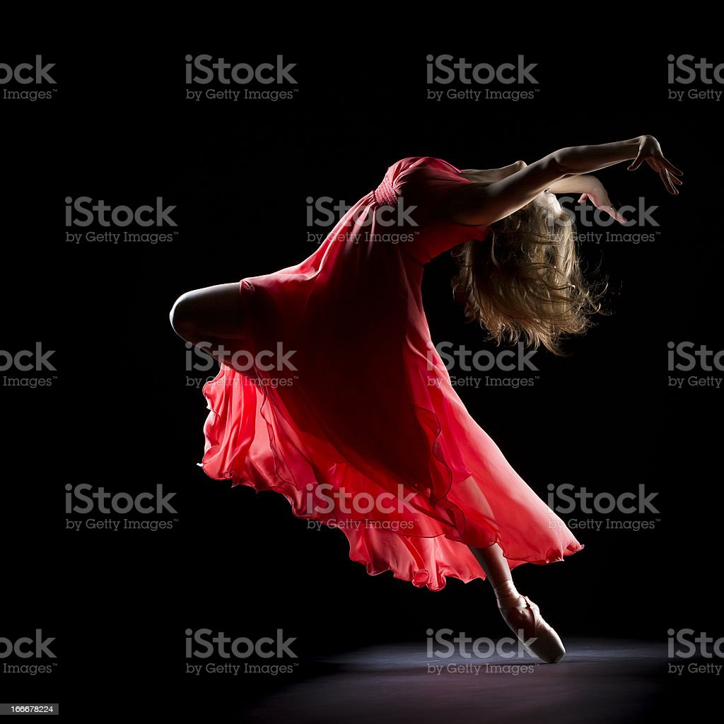 The Dancer on black background stock photo