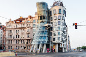 Prague, Czech Republich - August 4, 2018: The Dancing House in the center of Prague, Czech republic. The building was designed by Vlado Milunic and Frank Gehry, built in 1996.