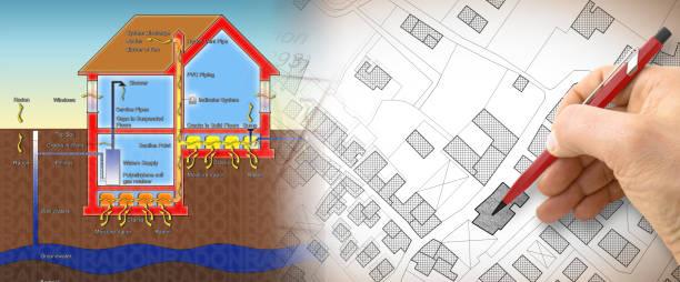 het gevaar van radongas in onze huizen - concept illustratie met hand tekenen over een denkbeeldige kadastrale kaart van grondgebied - radon test stockfoto's en -beelden
