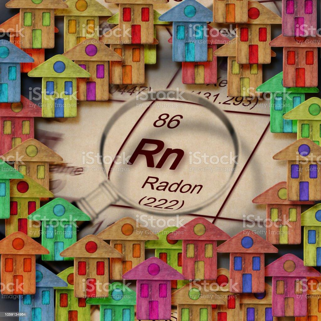 Het gevaar van radongas in onze huizen - concept afbeelding - Royalty-free Aardgas Stockfoto