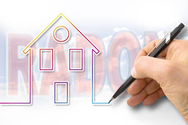 het gevaar van radongas in onze huizen - concept afbeelding - radon test stockfoto's en -beelden