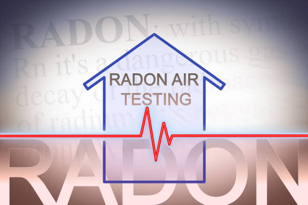 The danger of radon gas in our homes - concept image with check-up chart about radon level testing stock photo
