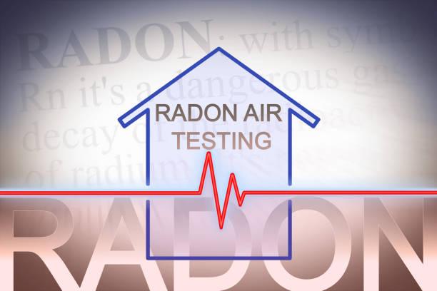 het gevaar van radongas in onze huizen - concept afbeelding met check-up grafiek over radon niveau testen - radon test stockfoto's en -beelden