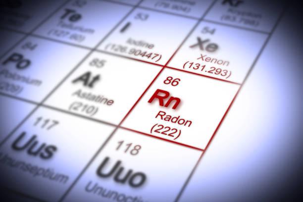 het gevaar van radongas in onze huizen - concept afbeelding met periodiek systeem der elementen - radon test stockfoto's en -beelden